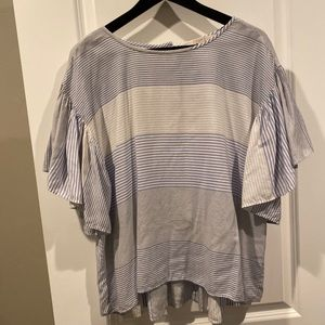 LOFT blue white stripe button back tee